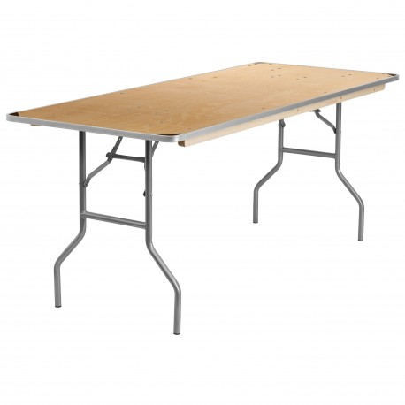 30'' x 72'' Rectangular HEAVY DUTY Birchwood Folding Banquet Table with METAL Edges and Protective Corner Guards