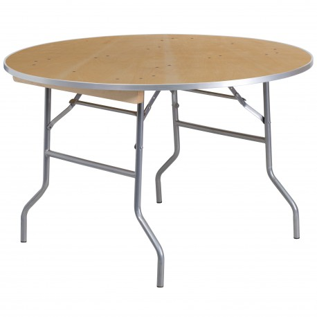 48'' Round HEAVY DUTY Birchwood Folding Banquet Table with METAL Edges