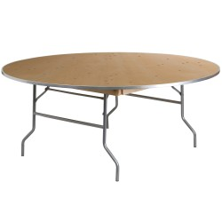 72'' Round HEAVY DUTY Birchwood Folding Banquet Table with METAL Edges