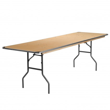 30'' x 96'' Rectangular HEAVY DUTY Birchwood Folding Banquet Table with METAL Edges and Protective Corner Guards
