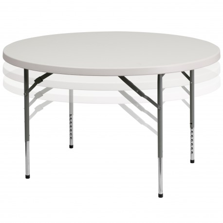 48'' Round Height Adjustable Granite White Plastic Folding Table