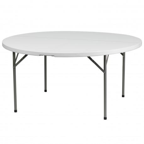 60'' Round Granite White Plastic Folding Table