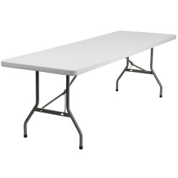 30''W x 96''L Granite White Plastic Folding Table