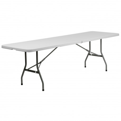 30''W x 96''L Bi-Fold Granite White Plastic Folding Table