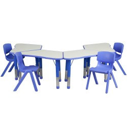 Blue Trapezoid Plastic Activity Table Configuration with 4 School Stack Chairs