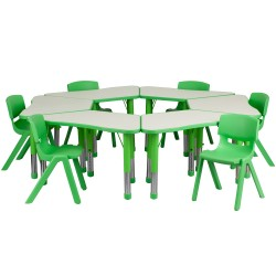 Green Trapezoid Plastic Activity Table Configuration with 6 School Stack Chairs