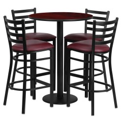 30'' Round Mahogany Laminate Table Set with 4 Ladder Back Metal Bar Stools - Burgundy Vinyl Seat