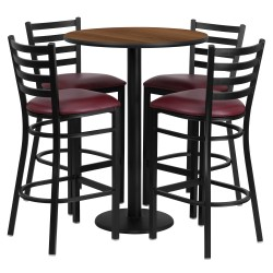 30'' Round Walnut Laminate Table Set with 4 Ladder Back Metal Bar Stools - Burgundy Vinyl Seat