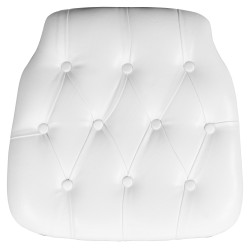 Hard White Tufted Vinyl Chiavari Chair Cushion