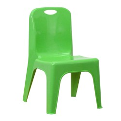 Green Plastic Stackable School Chair with Carrying Handle and 11'' Seat Height