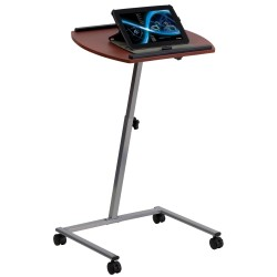 Angle and Height Adjustable Mobile Laptop Computer Table with Mahogany Top