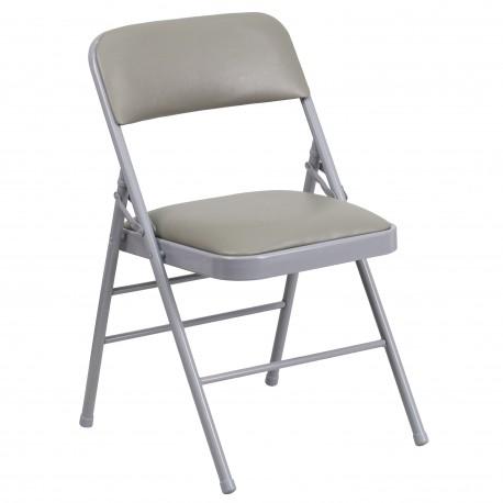 Triple Braced Gray Vinyl Upholstered Metal Folding Chair