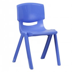 Blue Plastic Stackable School Chair with 18'' Seat Height