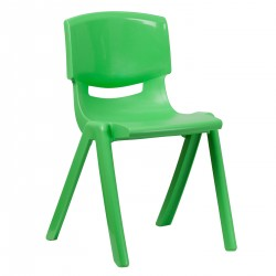 Green Plastic Stackable School Chair with 18'' Seat Height