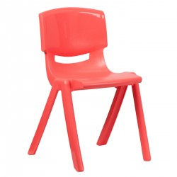Red Plastic Stackable School Chair with 18'' Seat Height