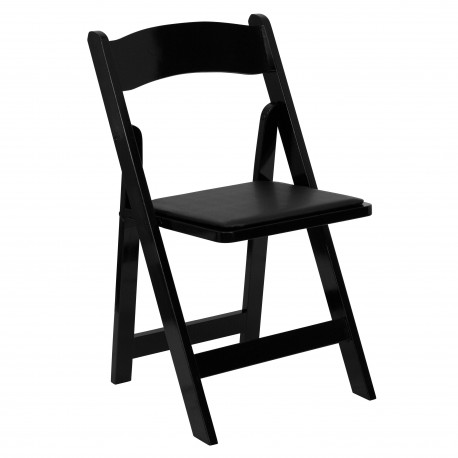 Black Wood Folding Chair with Vinyl Padded Seat