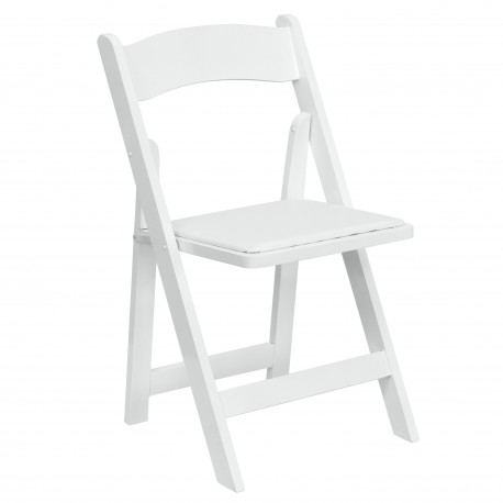 White Wood Folding Chair with Vinyl Padded Seat
