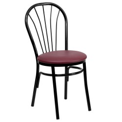 Fan Back Metal Chair - Burgundy Vinyl Seat