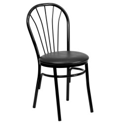 Fan Back Metal Chair - Black Vinyl Seat