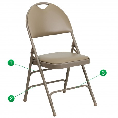 Extra Large Ultra-Premium Triple Braced Beige Vinyl Metal Folding Chair with Easy-Carry Handle