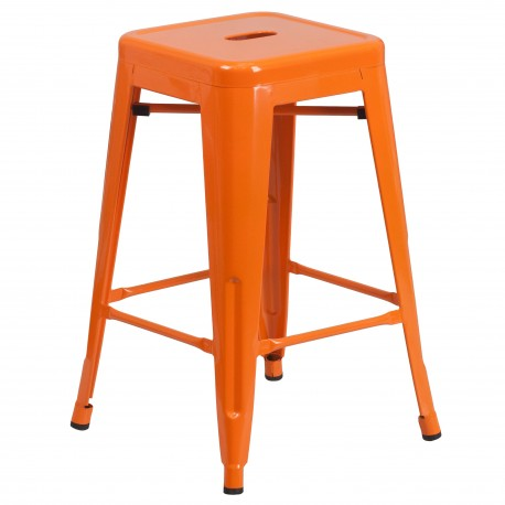 24'' Backless Orange Metal Counter Height Stool