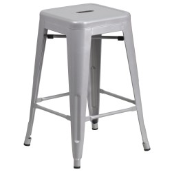24'' Backless Silver Metal Counter Height Stool