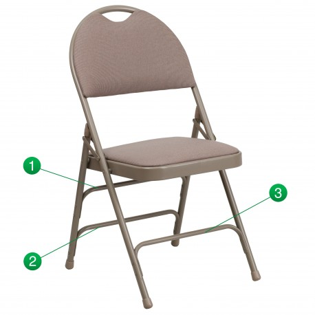 Extra Large Ultra-Premium Triple Braced Beige Fabric Metal Folding Chair with Easy-Carry Handle