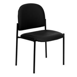 Black Vinyl Comfortable Stackable Steel Side Chair