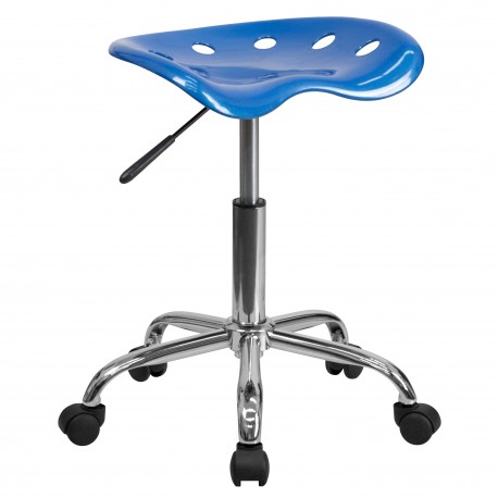 Vibrant Bright Blue Tractor Seat and Chrome Stool