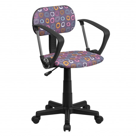 Multi-Colored Pattern Printed Computer Chair with Arms