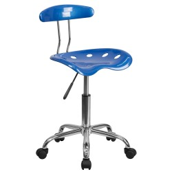 Vibrant Bright Blue and Chrome Computer Task Chair with Tractor Seat