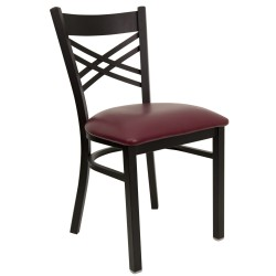 Black ''X'' Back Metal Restaurant Chair - Burgundy Vinyl Seat