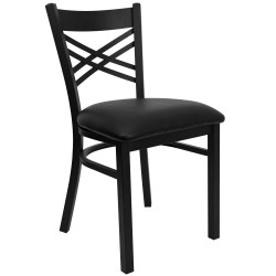 Black ''X'' Back Metal Restaurant Chair - Black Vinyl Seat