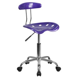 Vibrant Violet and Chrome Computer Task Chair with Tractor Seat