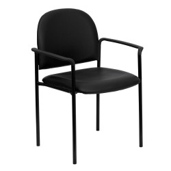 Black Vinyl Comfortable Stackable Steel Side Chair with Arms