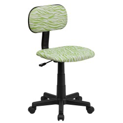 Green and White Zebra Print Computer Chair