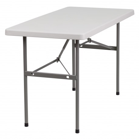 24''W x 48''L Granite White Plastic Folding Table