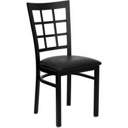 Black Window Back Metal Restaurant Chair - Black Vinyl Seat