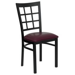 Black Window Back Metal Restaurant Chair - Burgundy Vinyl Seat