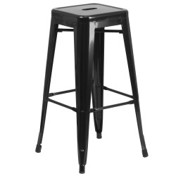 30'' Backless Black Metal Bar Stool