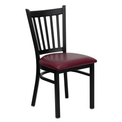 Black Vertical Back Metal Restaurant Chair - Burgundy Vinyl Seat