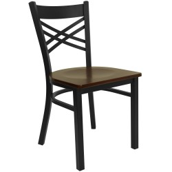 Black ''X'' Back Metal Restaurant Chair - Mahogany Wood Seat