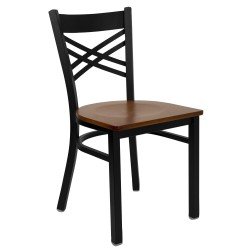 Black ''X'' Back Metal Restaurant Chair - Cherry Wood Seat