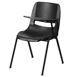 Black Ergonomic Shell Chair with Left Handed Flip-Up Tablet Arm