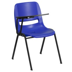 Blue Ergonomic Shell Chair with Right Handed Flip-Up Tablet Arm