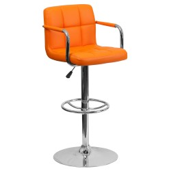Contemporary Orange Quilted Vinyl Adjustable Height Bar Stool with Arms and Chrome Base