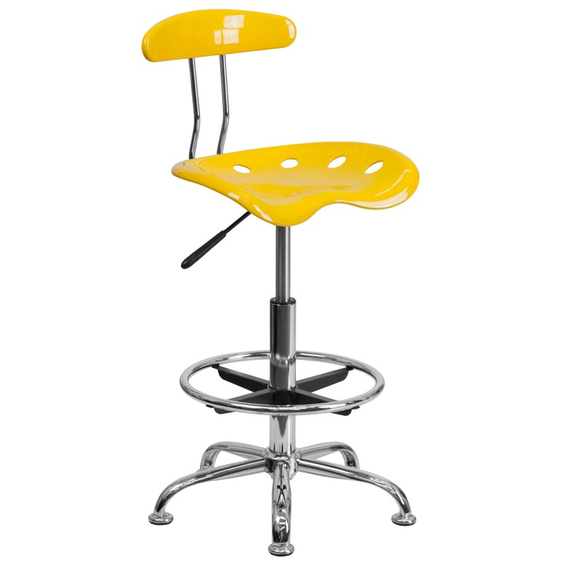Vibrant Orange Yellow And Chrome Drafting Stool With Tractor Seat ...