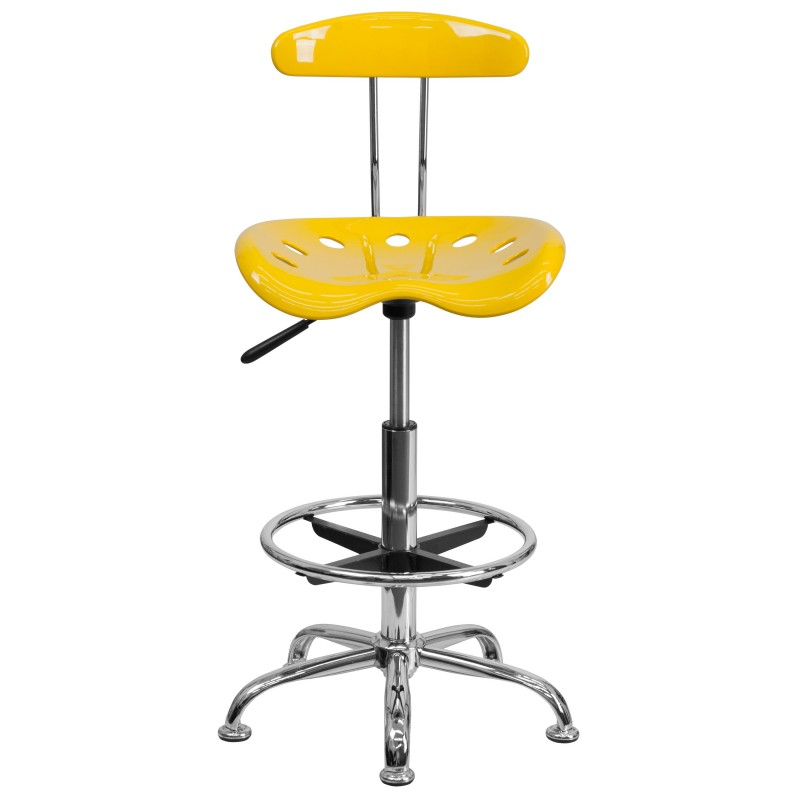 ... Vibrant Orange Yellow And Chrome Drafting Stool With Tractor Seat