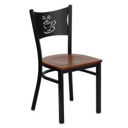 Black Coffee Back Metal Restaurant Chair - Cherry Wood Seat