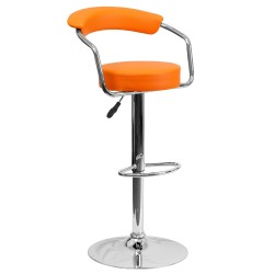 Contemporary Orange Vinyl Adjustable Height Bar Stool with Arms and Chrome Base